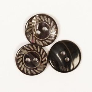 Perlmuttknopf schwarz mit Gravur