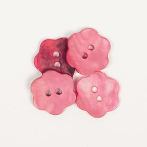 Perlmuttknopf rot Blume 15 mm